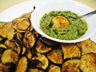 Maryam's Culinary Wonders: 826. Aubergine Chips with Coriander Cashew Pesto