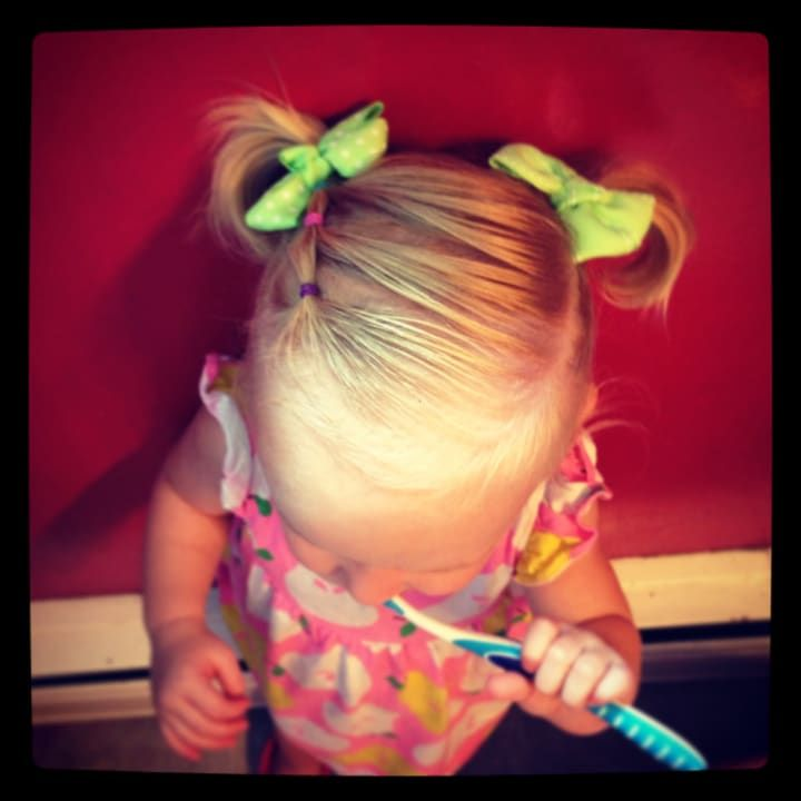 A cute, simple hairstyle for a toddler whose hair is kept fairly short.