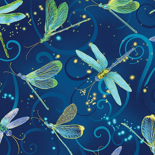 New - Dance of the Dragonfly Midnightblue Metallic - Kanvas - 1 yard - More Available - BTY by BywaterFabric on Etsy