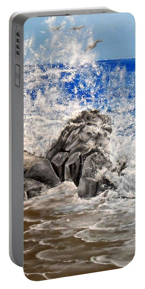 Portable Battery Charger,  blue,grey,cool,beautiful,fancy,unique,trendy,artistic,awesome,fahionable,unusual,accessories,for,sale,design,items,products,gifts,presents,ideas,waves,coastal,scene