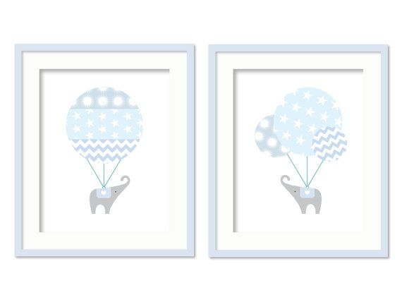 Baby Boy Chevron Nursery, Boys Bedroom Decor, Hot Air Balloon, Elephant nursery, Chevron nursery, Two 8 x 10 inch prints via Etsy
