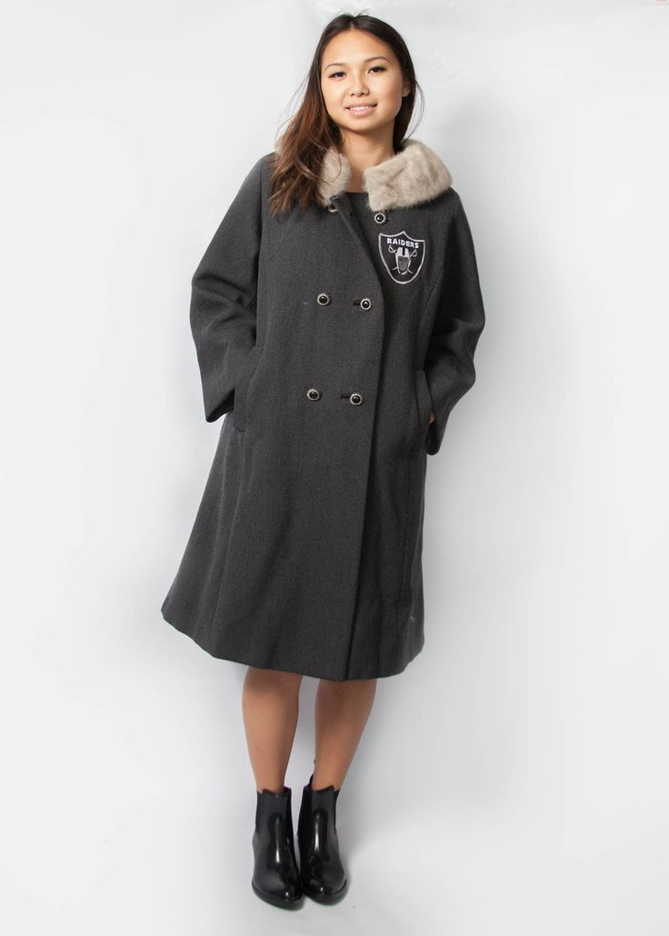 Fur Collar Coat with Raiders Patch