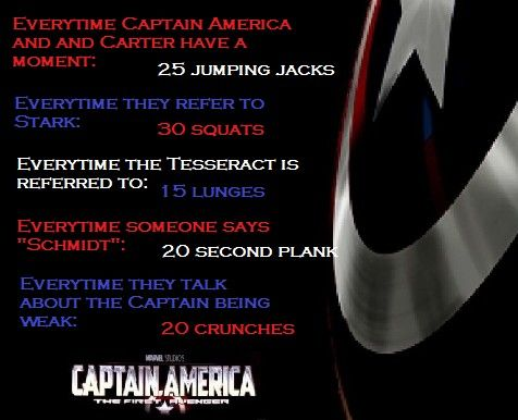 Captain America Movie Workout I know it... I know this was sorta cheezy to pin this but hec he is one bad looking dude and would love to try this out myself!