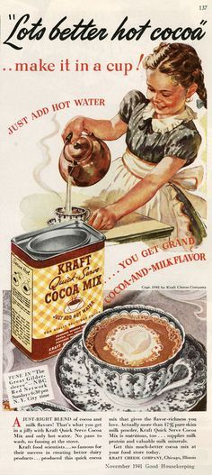 This old vintage picture is logos because it is appealing to us with words. it is persuading us to by the hot coco with words and we trust this because it is very persuasive.