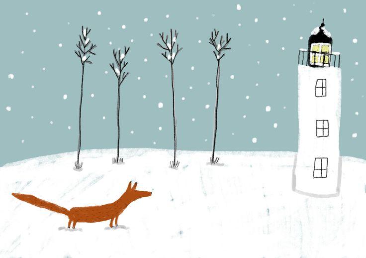 lighthouse and a fox by zafouko yamamoto