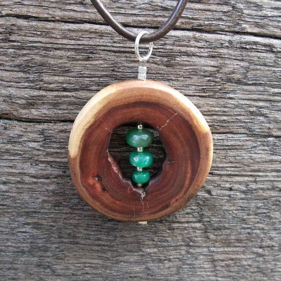 Wooden necklace  Chrysoprase &  wood  the by NaturesArtMelbourne, $56.00