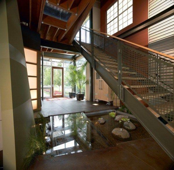 architecture moderne bassin ntérieur sous escalier