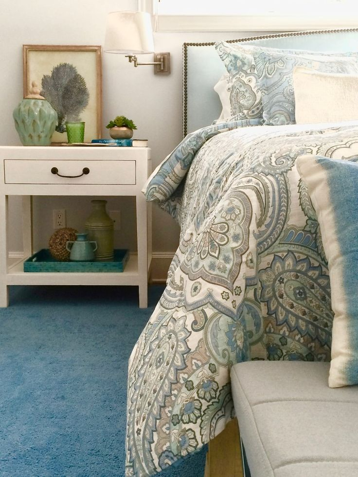 Springtime Blues; Create a calming bedroom retreat with fresh paisley bedding in soft blues and grays and pastel colored accessories all from from HomeGoods. Sponsored Happy By Design Post.