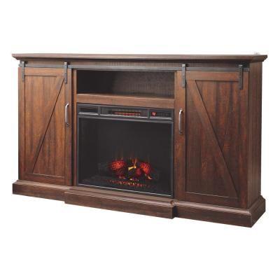 Chestnut Hill 68 In Media Console Electric Fireplace In Rustic Walnut Saw Cut Espresso