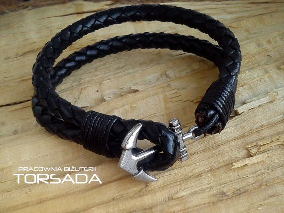 Lether men's bracelet with anchor by JewelryTORSADA on Etsy
