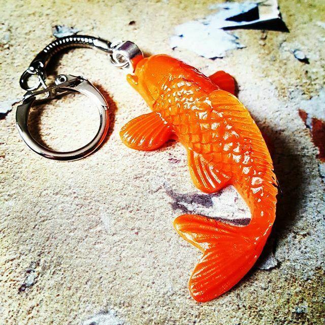 Round Fob Keyring Carp Fish