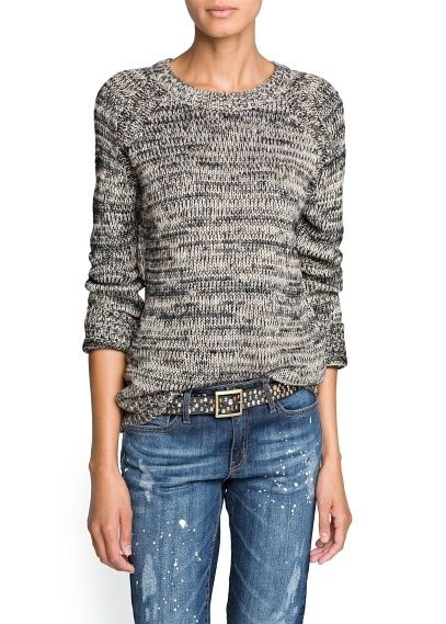 METALLIC DETAIL FLECKED SWEATER by Mango