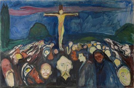 Christus aan het Kruis. 'Golgotha', door Edward Munch (1900)