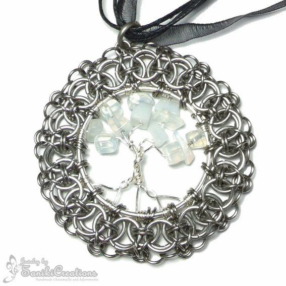 Custom Made Helms Weave Chainmaille Framed Tree Of Life Necklace (Moonstones)