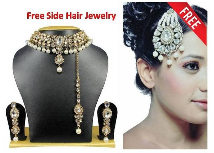 Indian Bollywood Kundan Jewlery Set With Free Side Hair Jewelry #uniquegemstone17 #Kundan