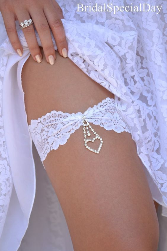White Wedding Garter Set Stretch Lace Bridal By BridalSpecialDay