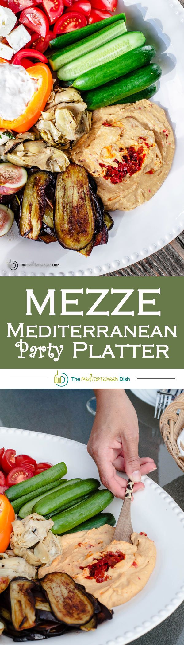 Mezze: How to Build the Perfect Mediterranean Party Platter | The Mediterranean Dish. Ditch those tired and boring party platters and try this platter with Mediterranean mezze favorites like hummus, fresh veggies, roasted eggplants, artichokes, olives, cheeses and more! Mostly prepared store-bought items! Pin it for your next party!