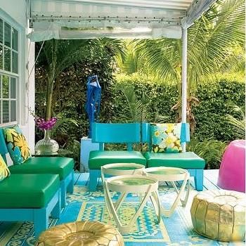 Bright And Tropical Colors For Outdoor Furniture. Gold Poufs For Additional  Seating.
