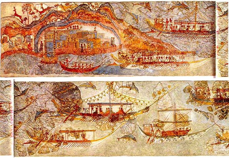 Beautifully preserved frescoes from the Bronze-Age settlement of Akrotiri, Santorini. Akrotiri is a well-preserved Minoan Bronze-Age settlement which is in fact one of the most important prehistoric settlements in Greece ‪#‎santorini‬ ‪#‎oia‬ ‪#‎culture‬ ‪#‎mustsee‬ ‪#‎attractions‬ ‪#‎history‬