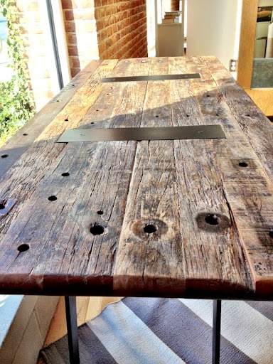 Table Made From Reclaimed Telephone Poles Found At Crate