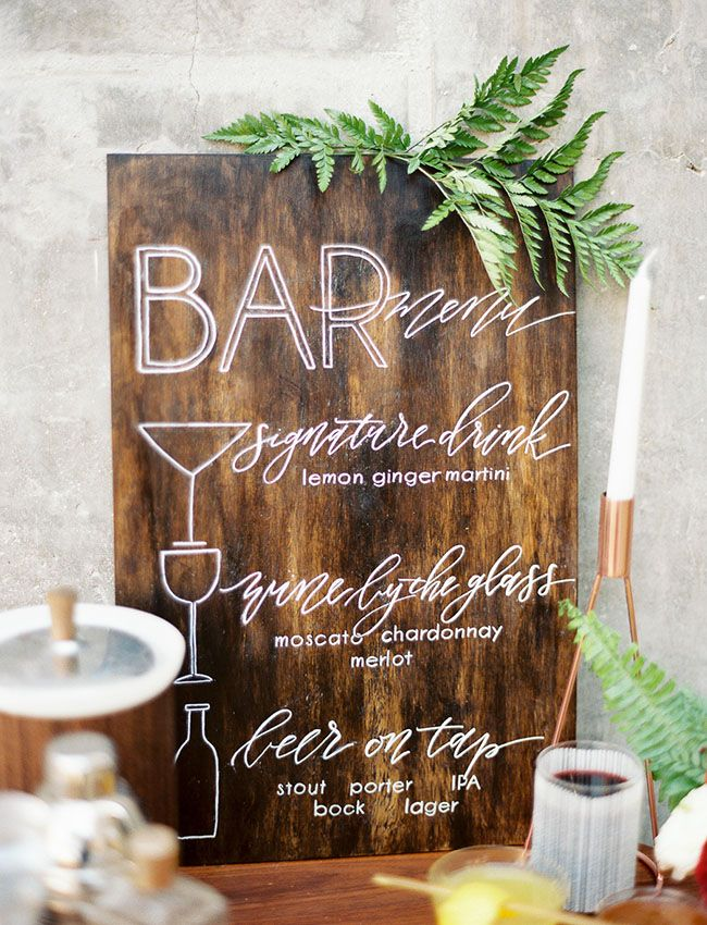 Love the hand-lettering and illustration on this bar sign! Mid-Century Modern Wedding Inspiration at Howl in Long Beach