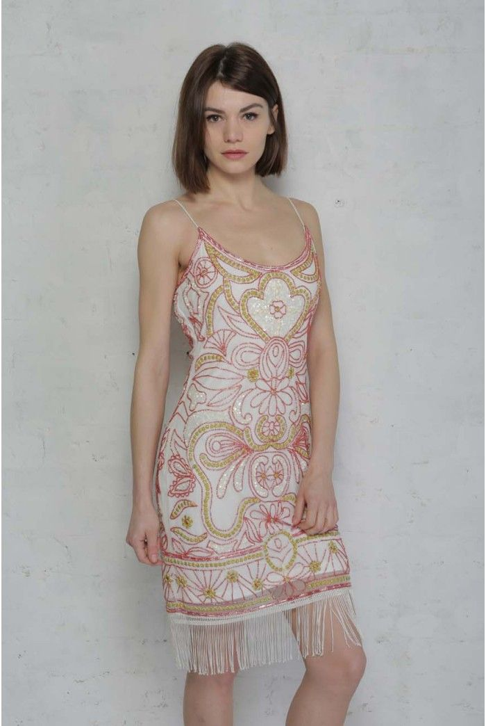 Pink and White Flapper Dress - White Beaded Shift Dress