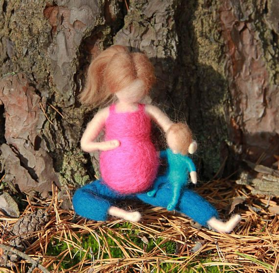 Needle Felted Yoga Doll Pregnant Mother with baby Waldorf