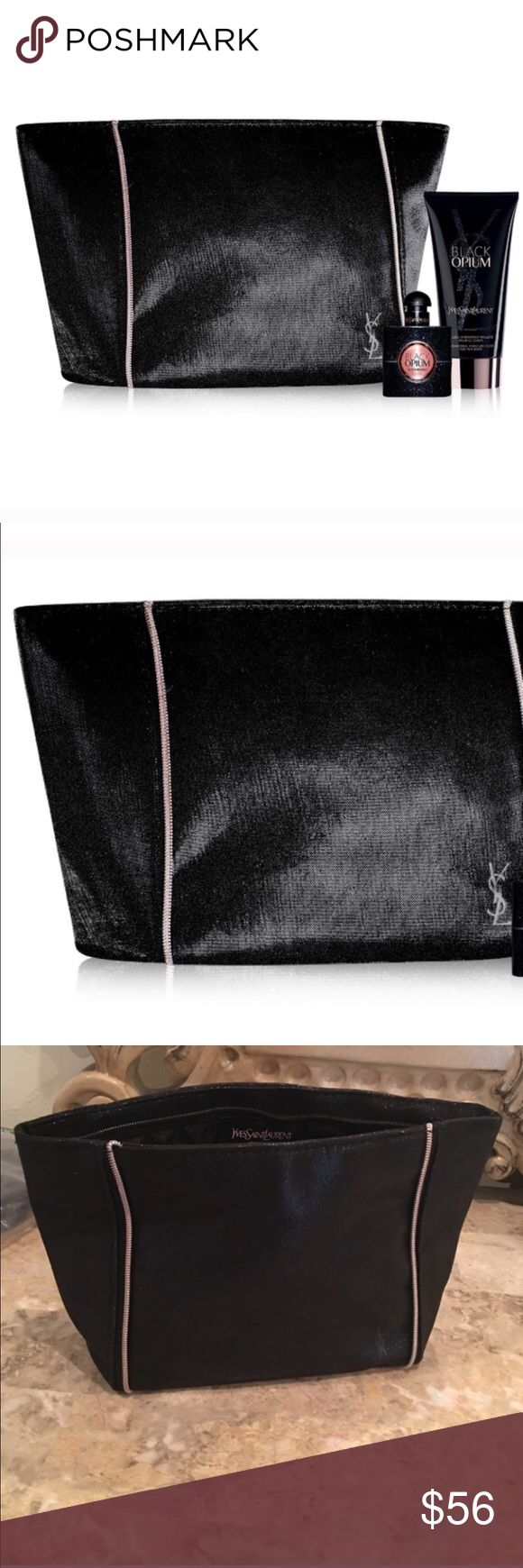 """YSL Cosmetic bag and set Authentic, brand new YSL beaute cosmetic shimmering bag from their limited addition black opium perfume. Listing is for everything shown the bag, the perfume and lotion for $69. NWOT. 10 1/2""""x6""""x 3 1/2"""" Yves Saint Laurent Bags Cosmetic Bags & Cases"""