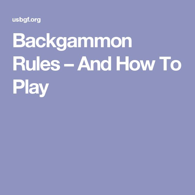 Backgammon Rules Easy