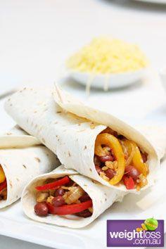 Rice & Bean Burrito. #HealthyRecipes #DietRecipes #WeightLoss #WeightlossRecipes weightloss.com.au
