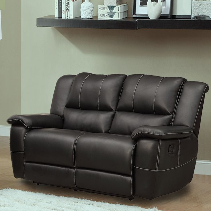 Add a chic contemporary style coupled with luxurious comfort to your home decor with this Griffin Black Bonded Leather Double Recliner Loveseat. This loveseat features a soft bonded leather construction with pillow top arms.