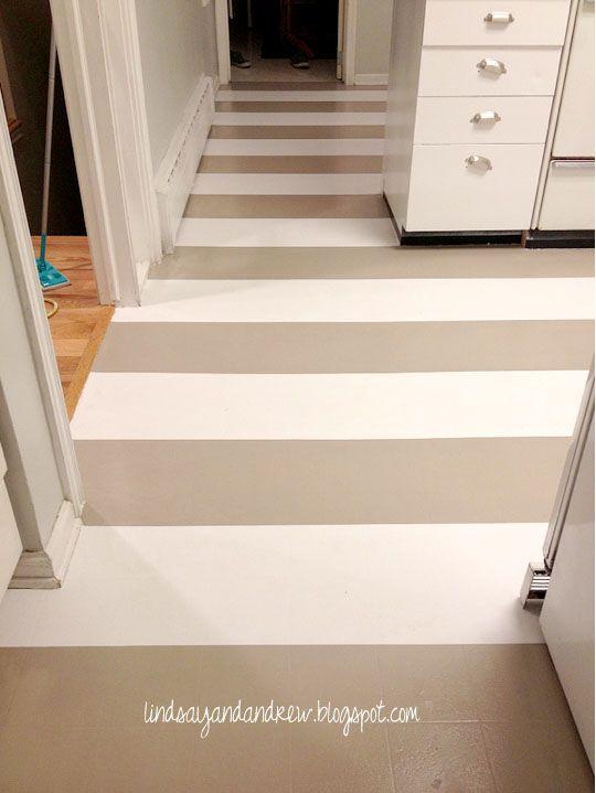 Lindsay & Drew: Painting a Linoleum Floor....