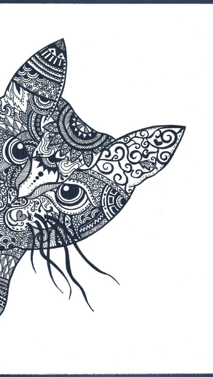 Cat mandala free time eyes decorazioni decoration decorations flower details detail hears nose