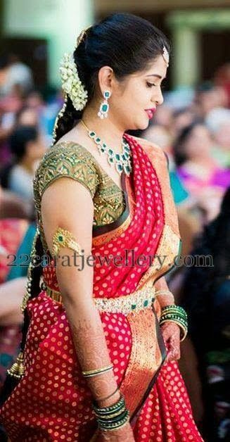 Bride in Green Cut Work Blouse | Saree Blouse Patterns