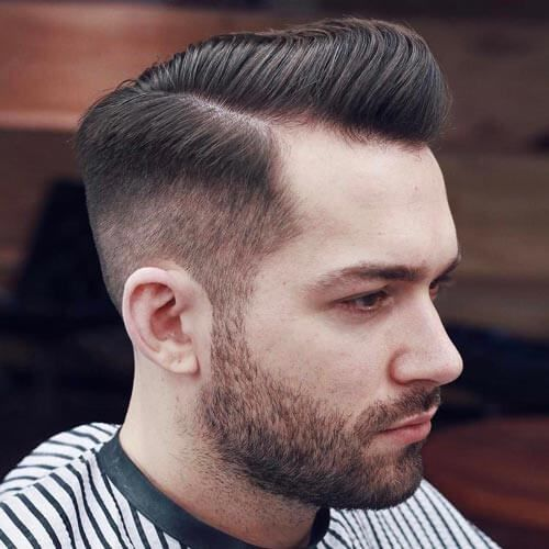 Pompadour with Comb Over Fade - Pompadour Fade Haircut