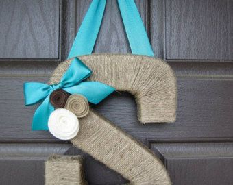 The Original Jute Monogram Wreath. Handmade by EmbellishedLiving