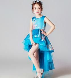 Girly Shop's Turquoise/blue Sleeveless Round Neckline Tiered Layered High Low Gown