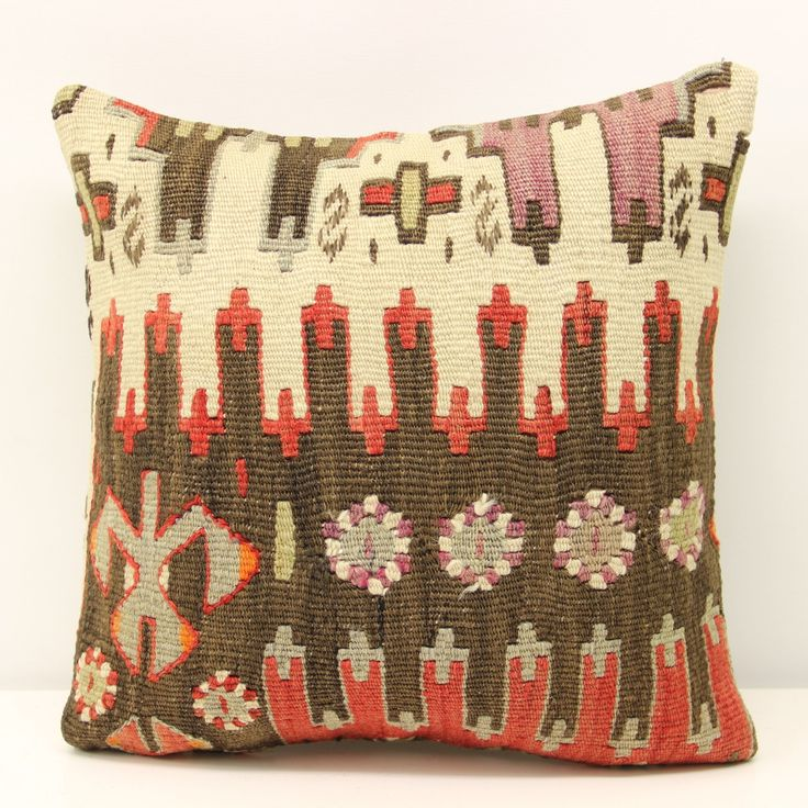 Art Deco kilim pillow cover 16x16 inch (40x40 cm) Boho kilim pillow cover Home Decor Natural Pillow cover Chevron Kilim Cushion Cover. Turkish handmade Oriental kilim pillow cover By Kilimwarehouse Size: 16x16 Inches / 40x40 Cm Front side: Handmade kilim rug, material wool & cotton. Back side: Cotton fabric and hidden zipper. Pillow insert is not included. Only Dry clean. Please note that colors may vary slightly on different computer monitors. Shipment: Fedex worldwide, delivery time 2-4...