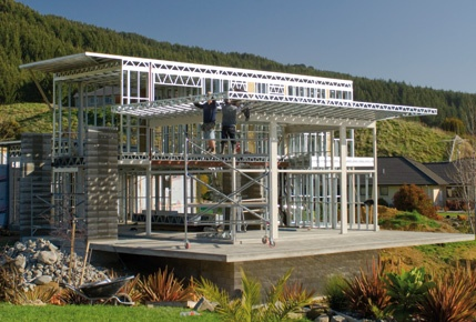 Nikau Valley, Kapiti Coast home under construction. With Axxis® Steel for Framing. Architecture by Graeme Boucher, Coast Edge Design.