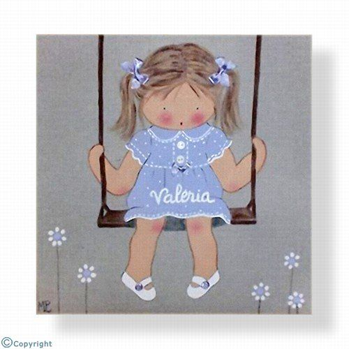 Cuadro infantil personalizado: Niña en un columpio (ref. 12056-03)