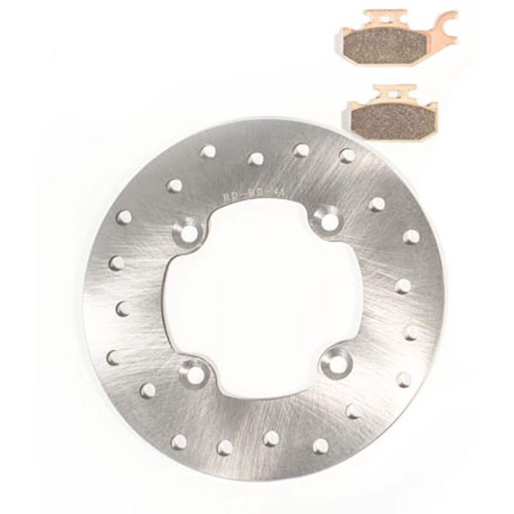 2011 Can-Am Outlander Max XT 800R Rear Brake Rotor Disc & Severe Duty Brake Pads, Silver stainless steel