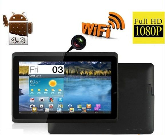 WolVol NEW (Android 4.0 - 1GB RAM) Ultra-Thin BLACK 7inch Tablet PC Touch Screen, WiFi and Camera with Google Play, Flash Player (Includes: Velvet Pouch Case, Touch Pen, Charger, Screen Protector) Price: $99.94