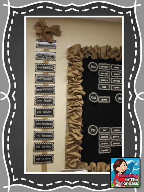 Burlap and Chalkboard Bulletin and Classroom Decor