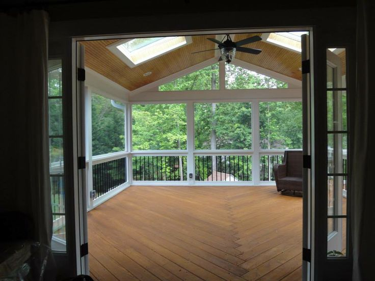 Raleigh Screen Porch with new double out swing French doors  Raleigh Deck Builder  Deck