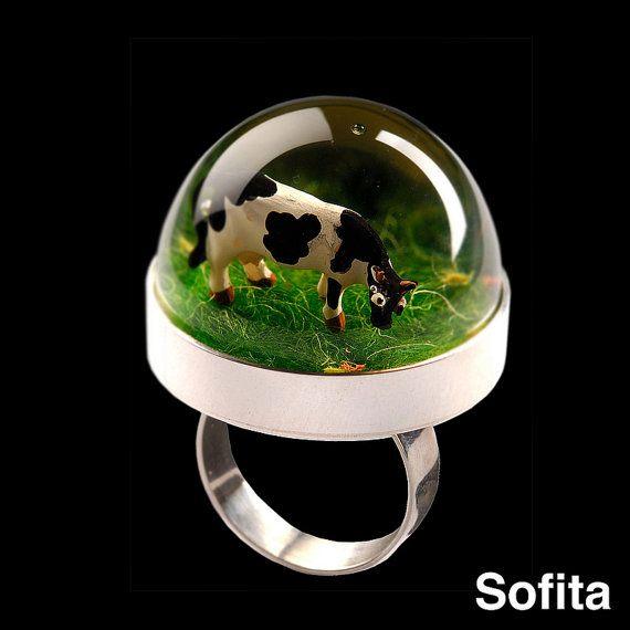 Sofita Snowglobe Ring Super COW by SOFITALAND on Etsy