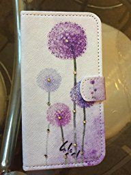 """Samsung Galaxy S5 / S5 Neo Flip Case, Fierella Cartoon Series Premium PU Leather Purple and Rose Dandelion Pattern Flip Protective Case Cover with Magnetic and Stand Function Wallet Book style Case with Card Slot for Samsung Galaxy S5 / S5 Neo ( 5.1"""" Inches) G900 i9600 SM-G903F Flip Case Cover: Amazon.co.uk: DIY & Tools"""