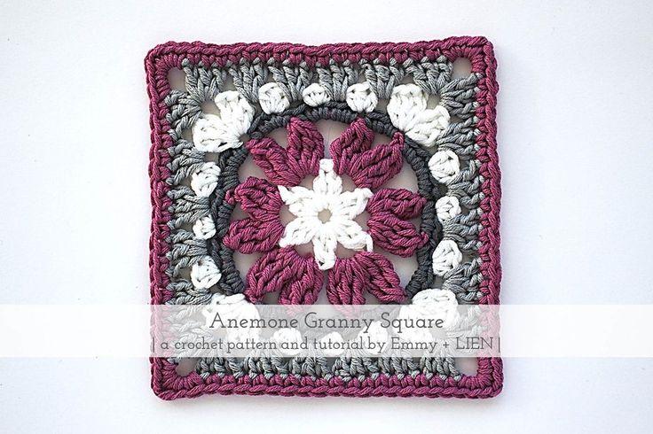 Anemone Granny Square   Free crochet pattern by Emmy+LIEN