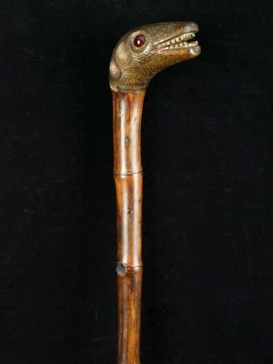 """a one piece bamboo """"Emu"""" head handled cane with glass inset eyes English date…"""