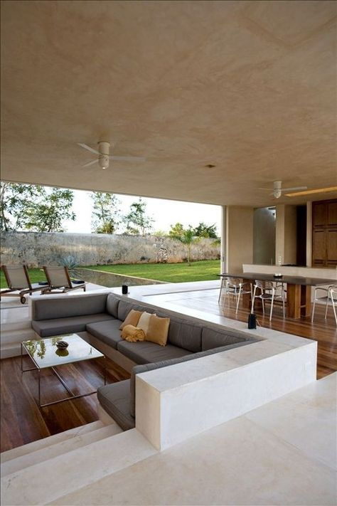 38 best step down living rooms images on pinterest for Hacienda design ideas