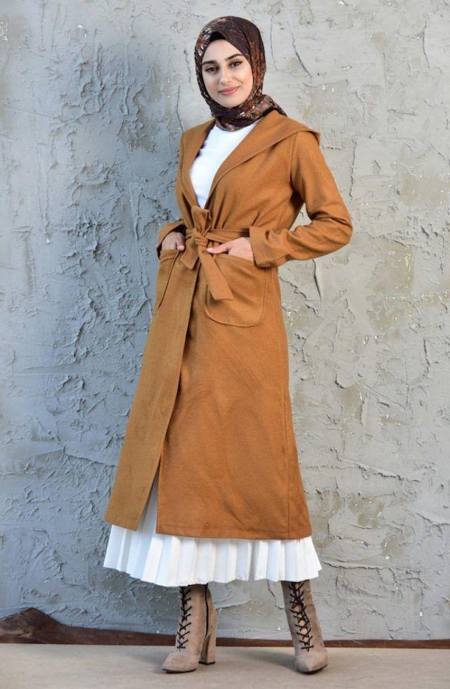 2019 Modanisa Yeni Sezon Tesettur Giyim Modelleri Sefamerve Taba Kap Aflka Fashion Coat Trench Coat